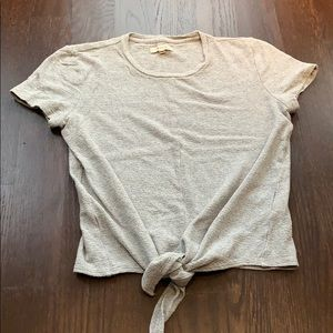 Madewell Grey tie bottom short sleeve top.